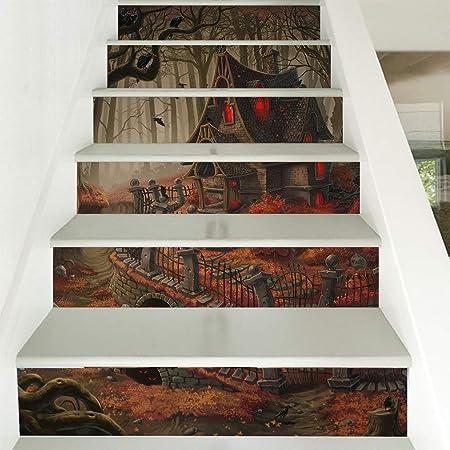 3D de Halloween triste casa antigua Pegatinas de la escalera desmontable Autoadhesivo Pegatinas escalera murales papel pintado Decoración para el hogar 39.3Inch x 7,08 pulgadas x 6 PCS,A: Amazon.es: Hogar