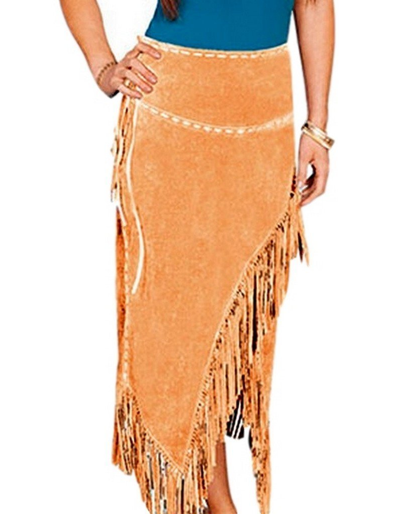 Scully Women's Suede Leather Fringe Skirt Tan X-Large