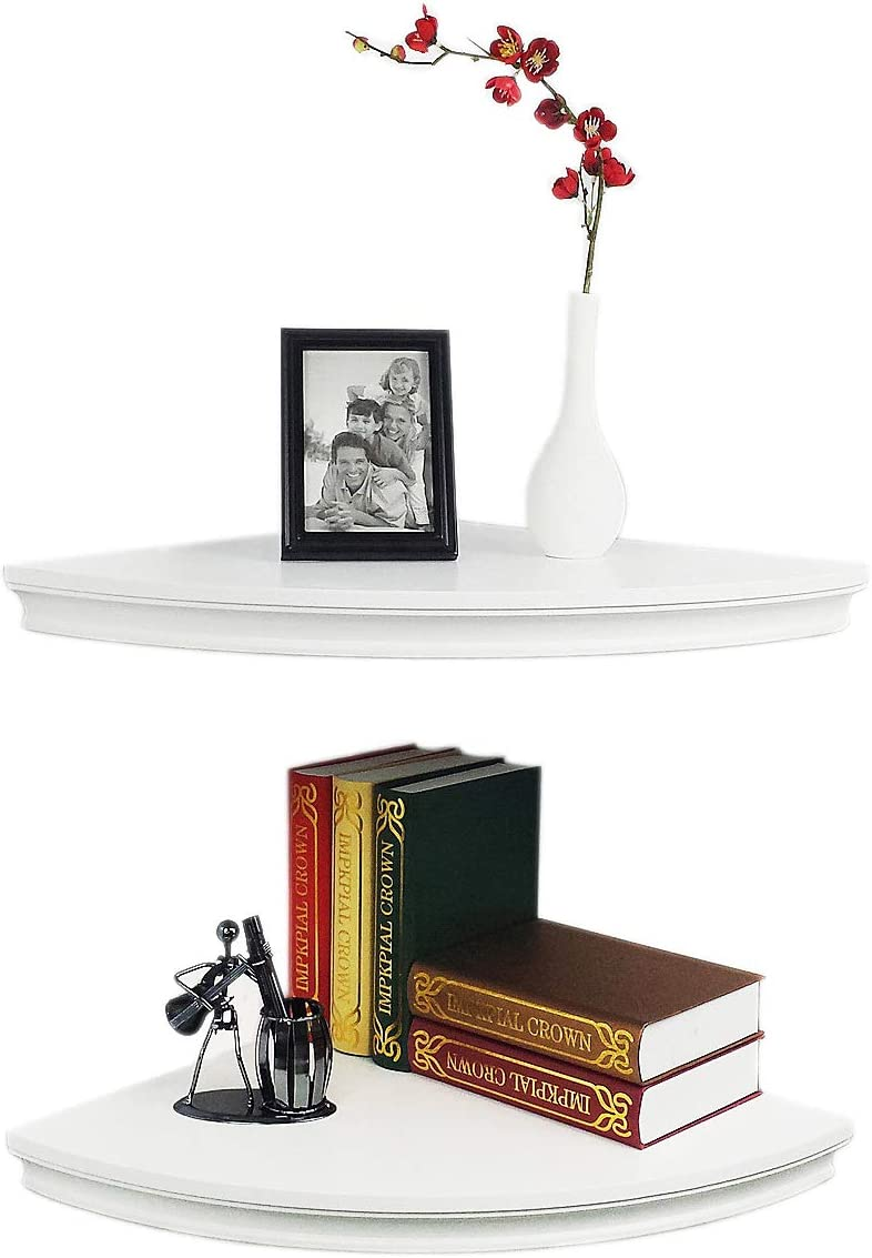 "HAO Set of 2 Classic Radial Corner Wall Shelf Contoured Shelving MDF Floating Corner Shelves Approx.12"" White: Kitchen & Dining"