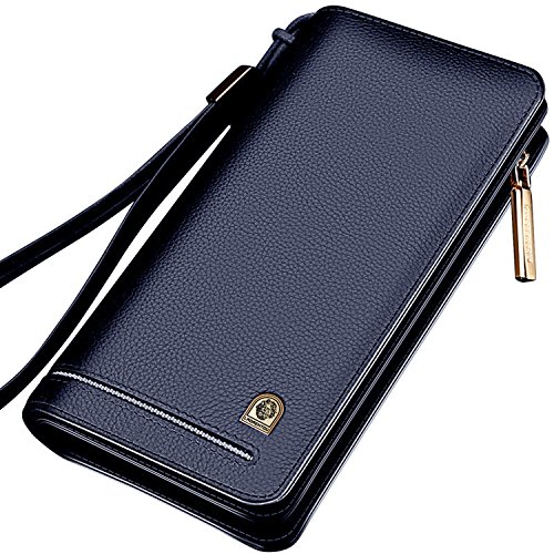 Wallets Gift 821j004l1g Large Capacity Clutch Day Wristlet Valentine's Purse Purse with Leather Men Genuine Zipper SqHBxB4