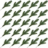 Yarssir 25pcs Artificial Pine Green Leaves Needle Garland Christmas Embellishing Home Garden Decor, 11x4.7 inches(Green-25 Pack)