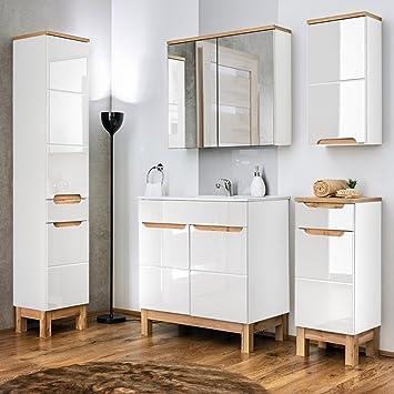 Lomadox Komplett Badezimmer Möbel Set 60 cm Hochglanz weiß, mit ...