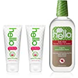Hello Oral Care Kids Fluoride Free Toothpaste Twin Pack with Fluoride Free Rinse, Natural Watermelon