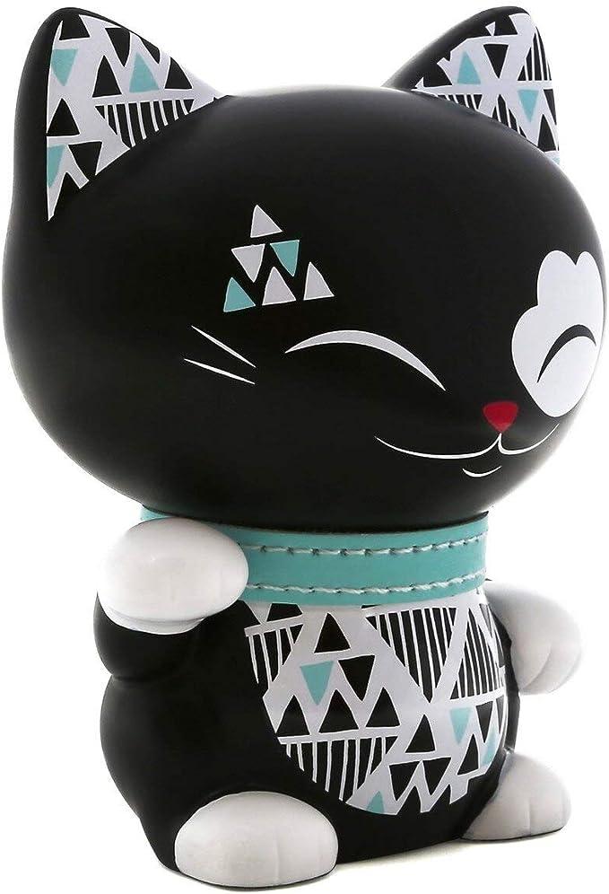 Mani The Lucky Cat 11cm Figurine Black with Blue PU Leather Collar MLCF052