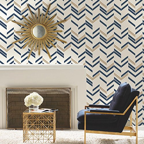 (RoomMates Blue Chevron Stripe Peel and Stick Wallpaper)