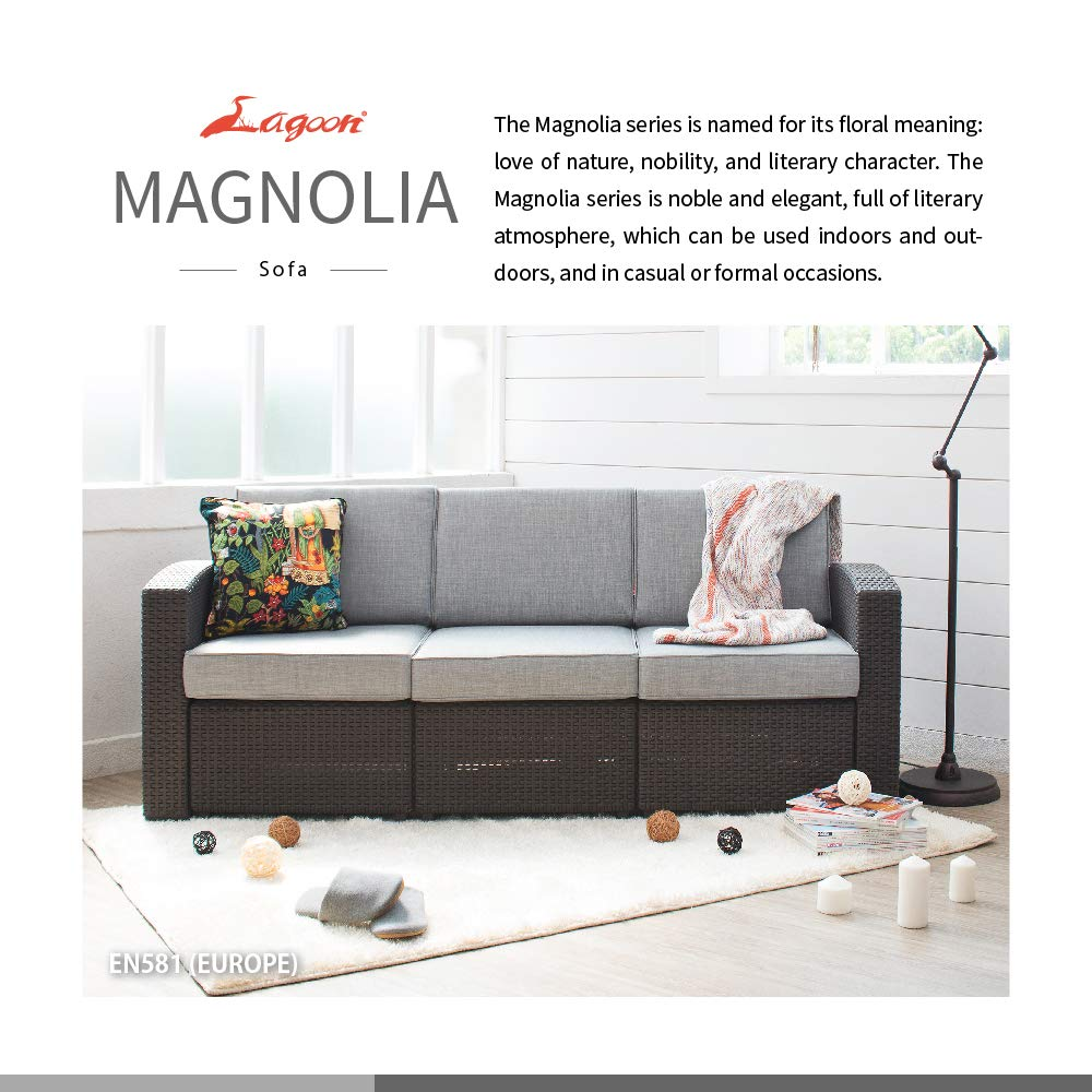 Amazon.com: Lagoon Magnolia Black_Rattan Sofa W/Red Cushion ...
