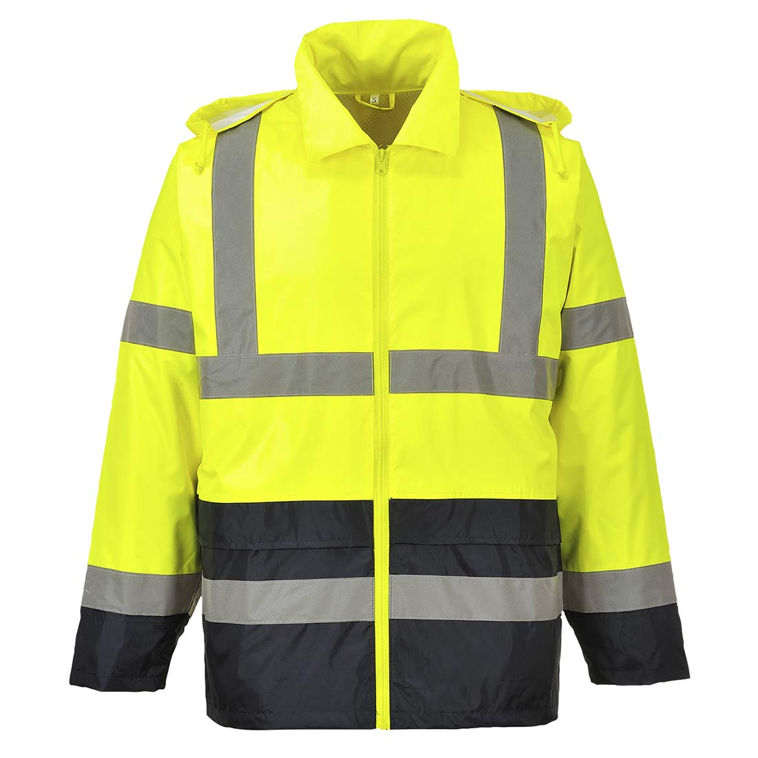 Portwest UH443YBRS Hi-Vis Contrast Rain Jacket Textile, Size- Small, Yellow/Black