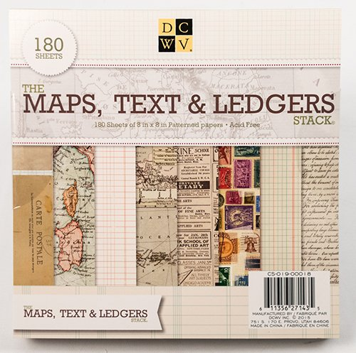 American Crafts 8 x 8 Inch Maps, Text & Ledgers 180 Sheets Die Cuts with a View Stacks by American Crafts