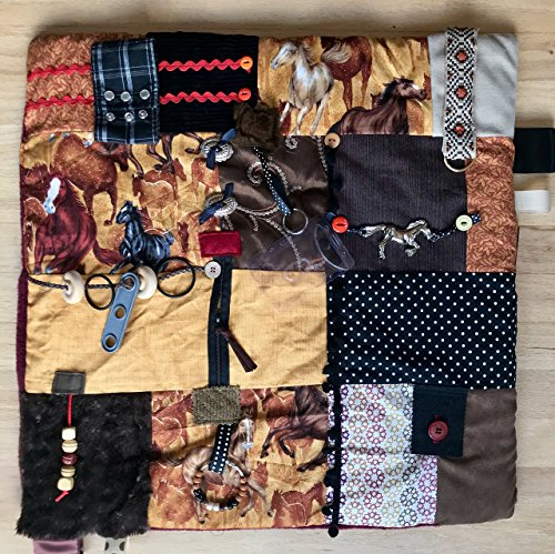 61Q4HR6sBvL - Fidget Blanket for Dementia | Fidget Quilt | Alzheimer's Blanket | WILD HORSES | by Restless Remedy