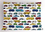 Lunarable Boy's Room Pillow Sham, Hand Drawn Doodled Car Pattern Cartoonish Style Police Ambulance School Bus Car, Decorative Standard King Size Printed Pillowcase, 36 X 20 inches, Multicolor