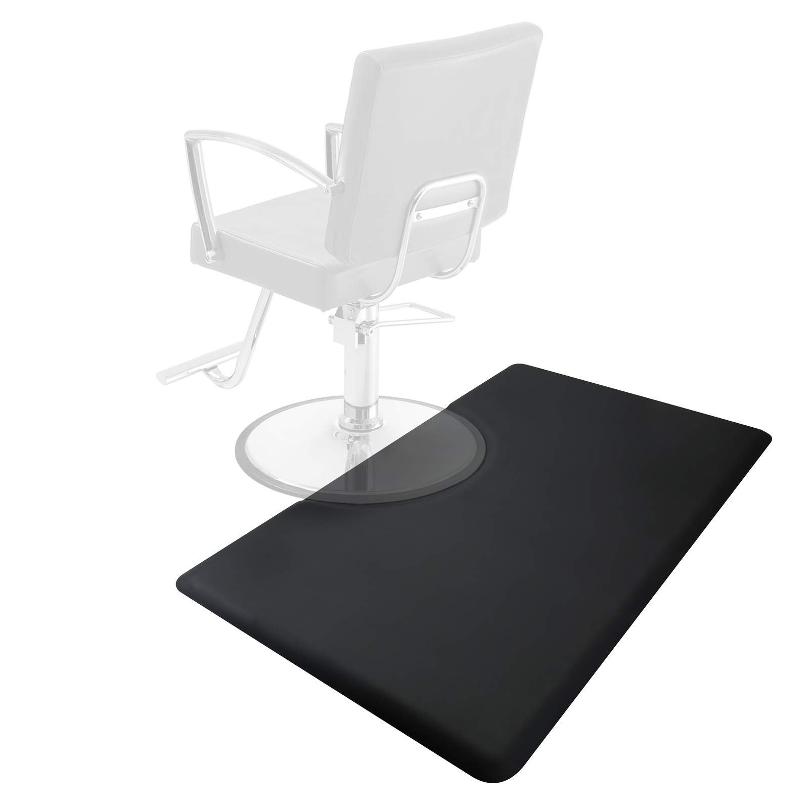Saloniture 3 ft. x 5 ft. Salon & Barber Shop Chair Anti-Fatigue Floor Mat - Black Rectangle - 7/8 in. Thick