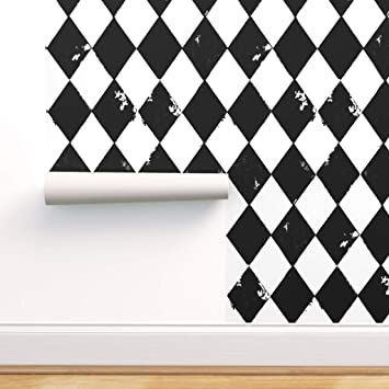 Peel And Stick Removable Wallpaper Black And White Diamond Harlequin Jester Boho Grunge Circus By Bohobear 24in X 72in Woven Textured Peel And Stick Removable Wallpaper Roll Amazon Com