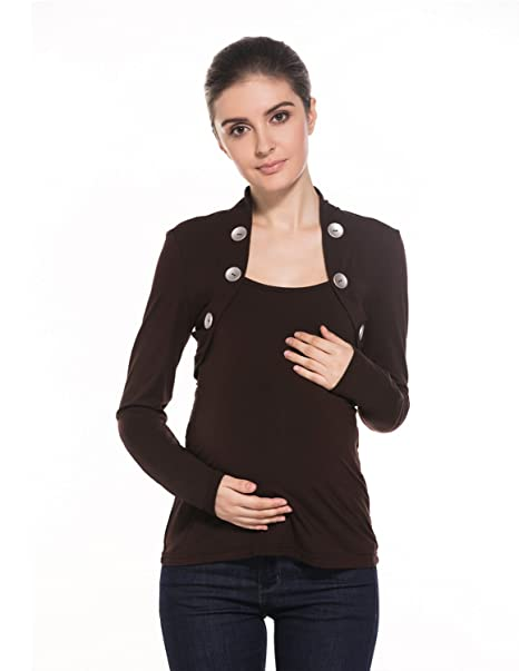 MODETREND Premamá Blusas con Botones Para Mujeres Embarazo Camisetas Manga Larga Camisas de Maternidad