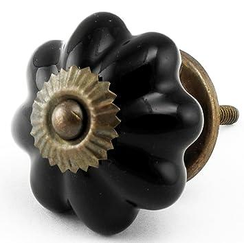 Knobs U0026 More Home Decor Black Ceramic Melon Cabinet Knob Set/10Pc Cupboard  Drawer Pulls