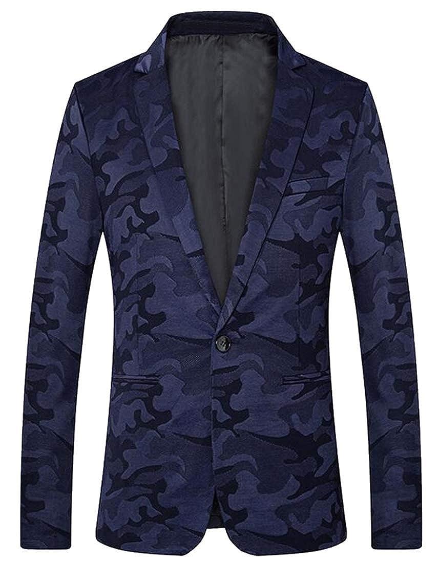 a0e84c4a3ce9b Fensajomon Men Camo Slim Fit 1 Button Casual Business Dress Blazer Jacket  Sport Coat at Amazon Men's Clothing store: