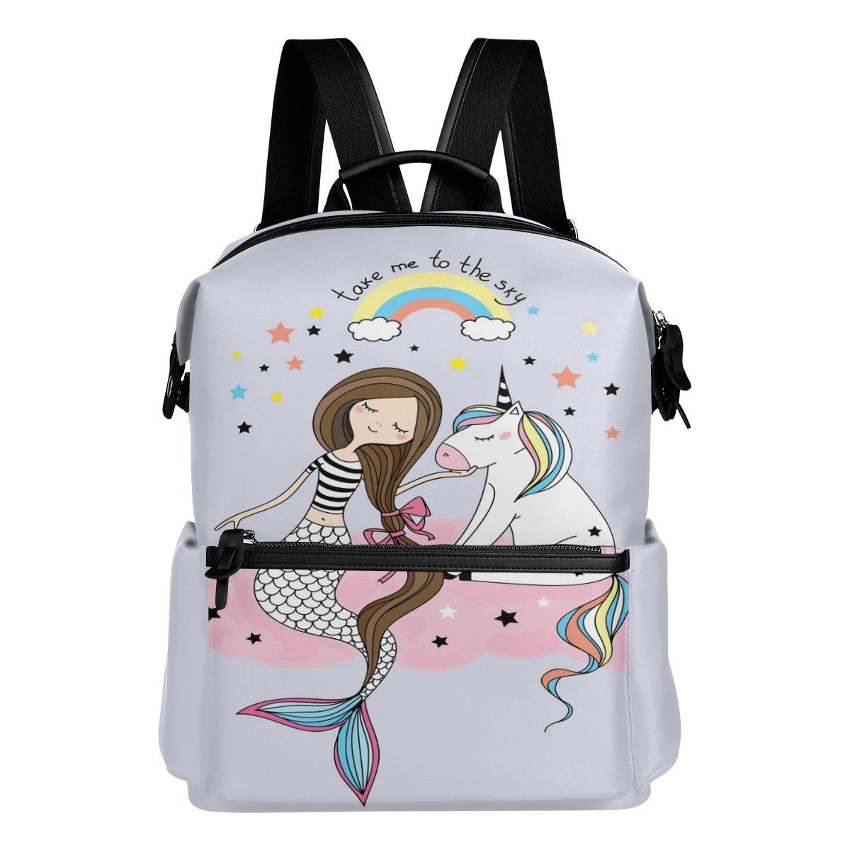 ALAZA Mermaid Unicornio Casual mochila mochila Bolsa estudiante escuela Bolsa mochila de viaje ligero 35785a