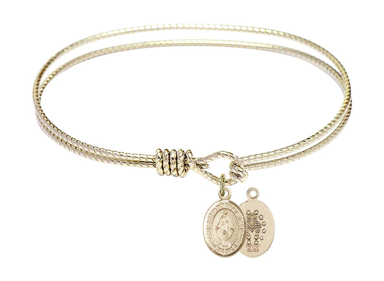 7 1/4 inch Oval Eye Hook Bangle Bracelet w/Miraculous Medal in Gold-Filled