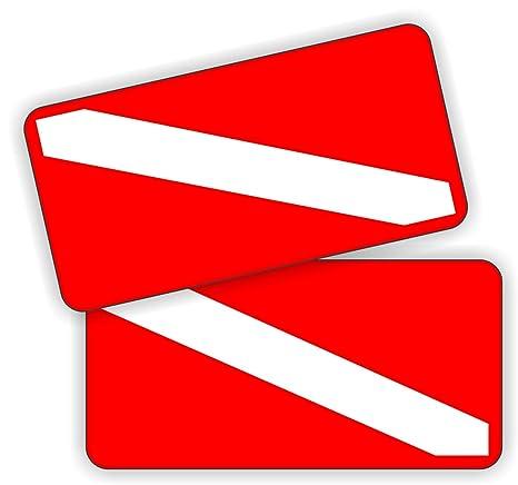 Scuba Diving Helmet Stickers \ 1x2 Pair of Weatherproof Vinyl Decals \ Dive Flag Flags Gear Labels Badges Helmets Hard Hats Safety 2x