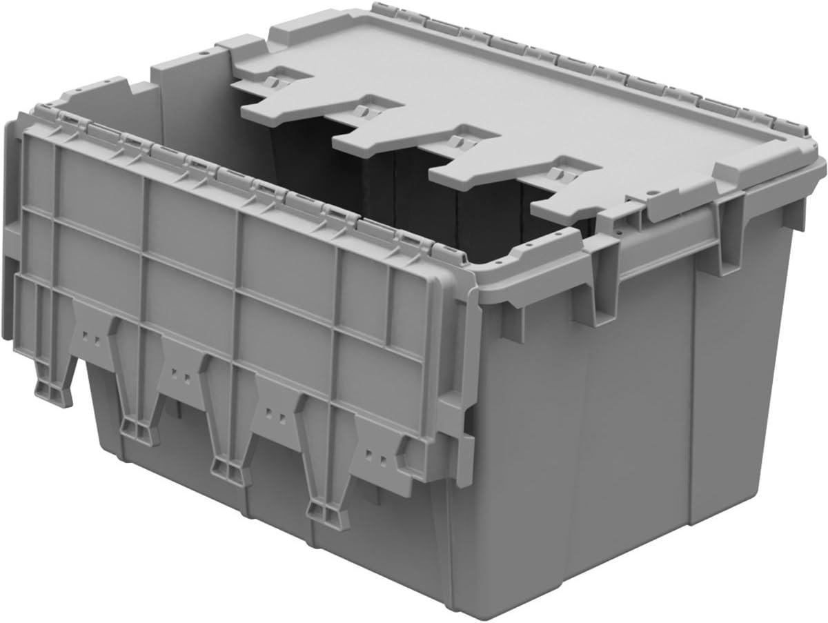 Buckhorn AC2115120201000 Industrial Grade Plastic Attached Lid Flip TOP 12 gallon Container Tote – 21 x 15 x 12 – Lt Grey,