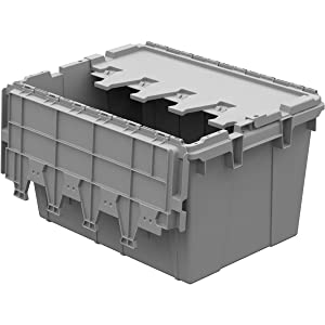 "Buckhorn AC2115120201000 Industrial Grade Plastic Attached Lid Flip TOP 12 gallon Container Tote - 21"" x 15"" x 12"" - Lt Grey,"