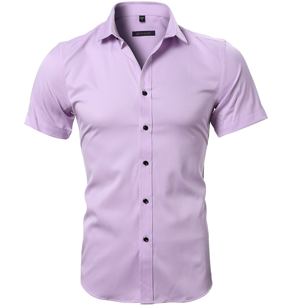 bded6eaa9ef6 FLY HAWK Men No Iron Slim Fit Dress Shirts Bamboo Fiber Short Sleeve  Elastic Casual Shirt