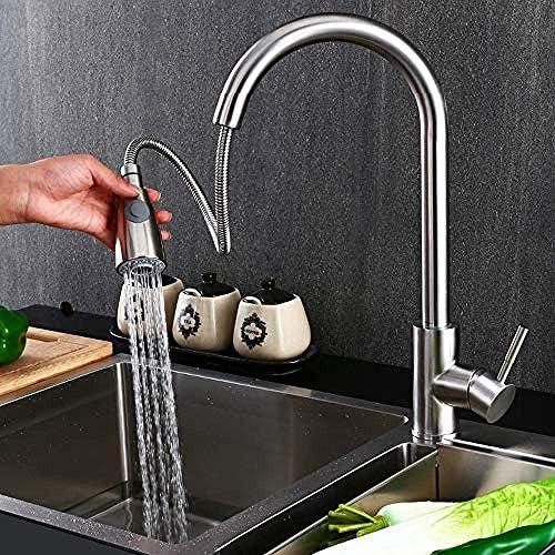 YYG-YYG キッチンのシンクの蛇口温水と冷水空調クリエイティブファッション単穴の蛇口の水を回転させるタップ食品グレード304ステンレス鋼プル 蛇口