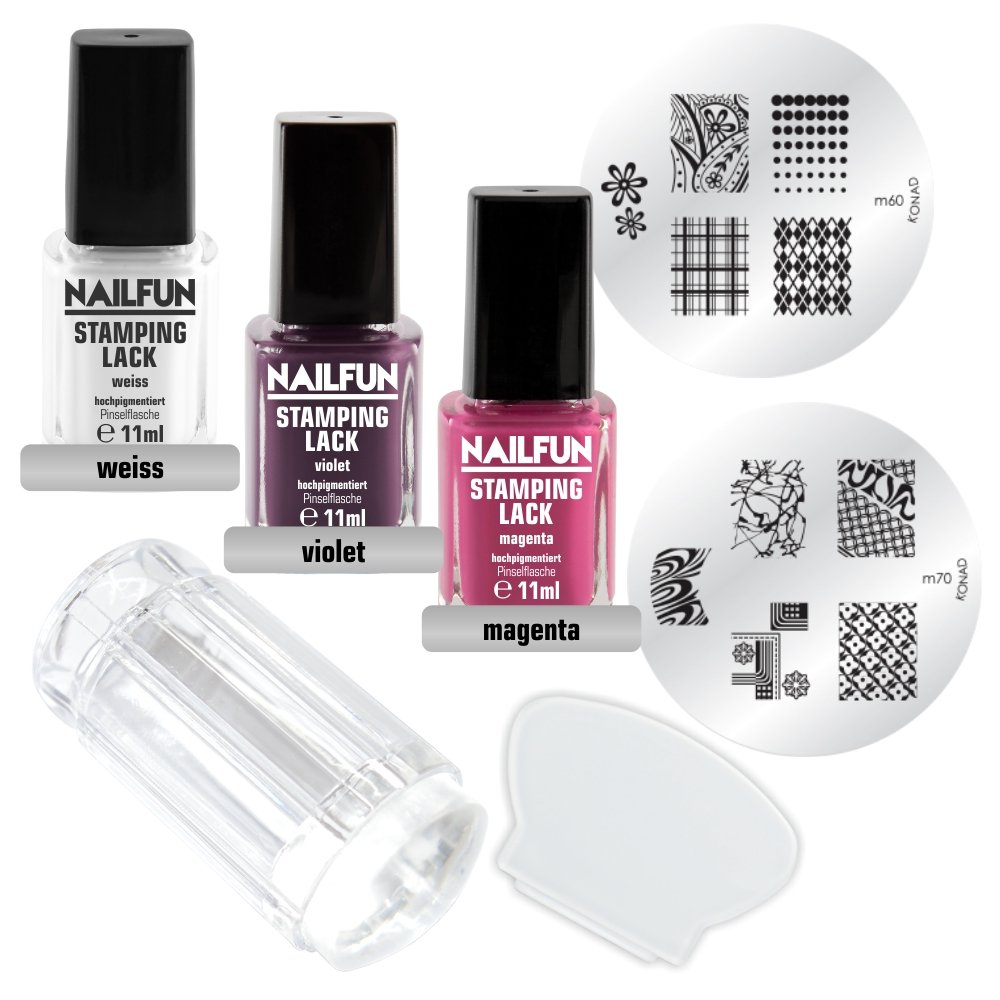 Stamping Set SHOPPING DREAM - Clear Jelly Stamper transparent + Scrapper + Stampinglack Weiss 11ml + Stamping-Lack Violet 11ml + Stamping Lack Magenta 11ml + KONAD Stamping Schablone M60 + KONAD Stampingschablone M70 NAILFUN ®