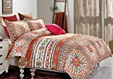 Bohemian Comforter Set Queen, 3-Piece Orange Boho chic Mandala Medallion...