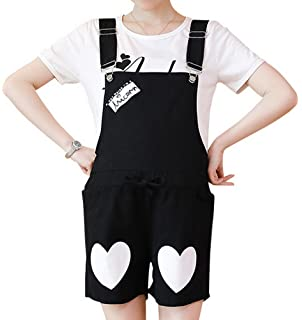 cbb3db29d60d Foucome Women s Heart Printing Casual Loose Cotton Bib Baggy Maternity  Overalls Jumpsuit Pants Romper