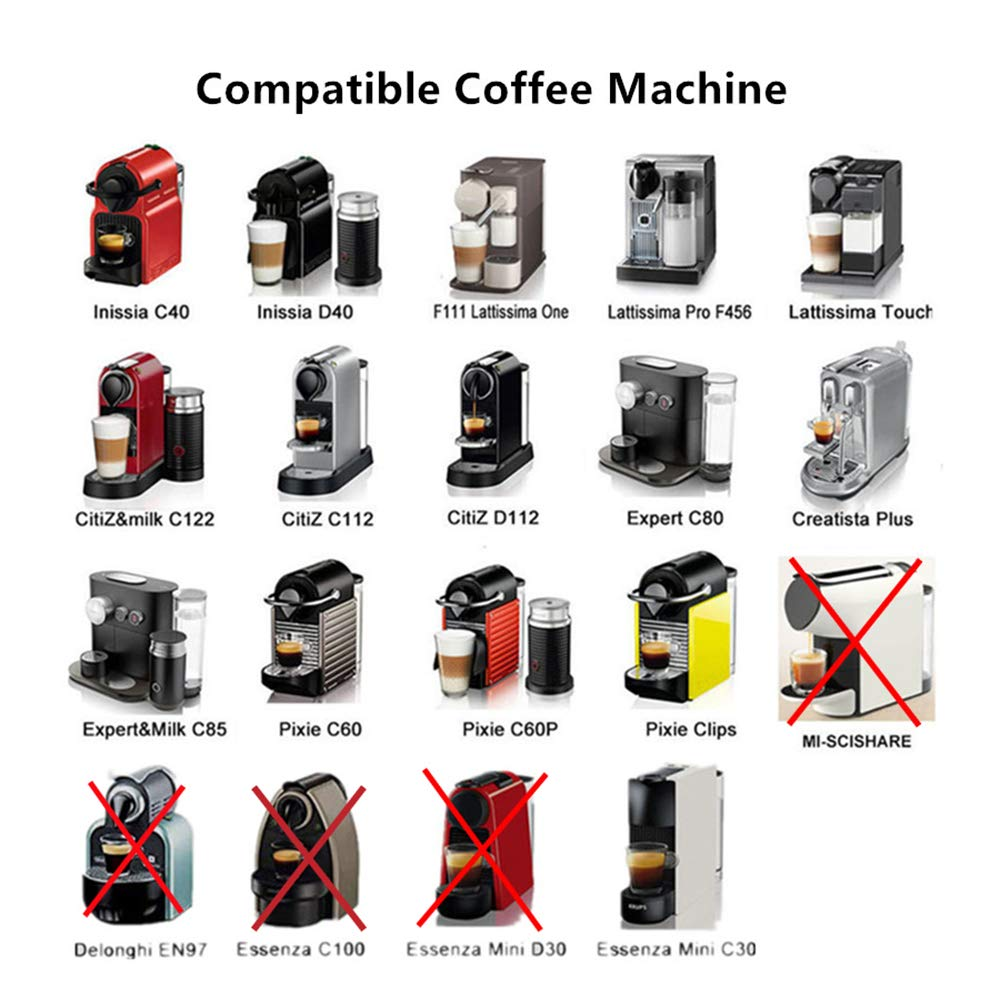 C/ápsulas de caf/é Recargables Nespresso de Acero Inoxidable para Rellenar de caf/é C/ápsulas de Repuesto Reutilizables para m/áquinas de Nespresso 2 c/ápsulas.