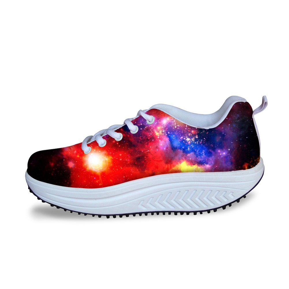 FOR U DESIGNS Trendy Galaxy Print Women Style Breathable Platform Fitness Walking Shoes Sneaker US 8