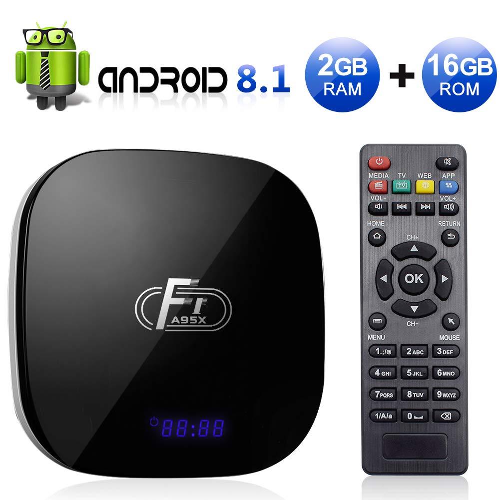 Sidiwen Android 8.1 TV Box F1 2GB RAM 16GB ROM Amlogic S905W Quad-Core Cortex-A53 CPU 2.4G WiFi Ethernet Support 3D 4K H.265 Smart Media Player