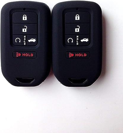 Black Black Wonderfulhz 2Pcs Silicone Full Protective Key Fob Remote Cover Case Skin Jacket for A2C81642600 2015 2016 2017 2018 2019 Honda Civic Accord Pilot CR-V 5 Buttons Smart Key
