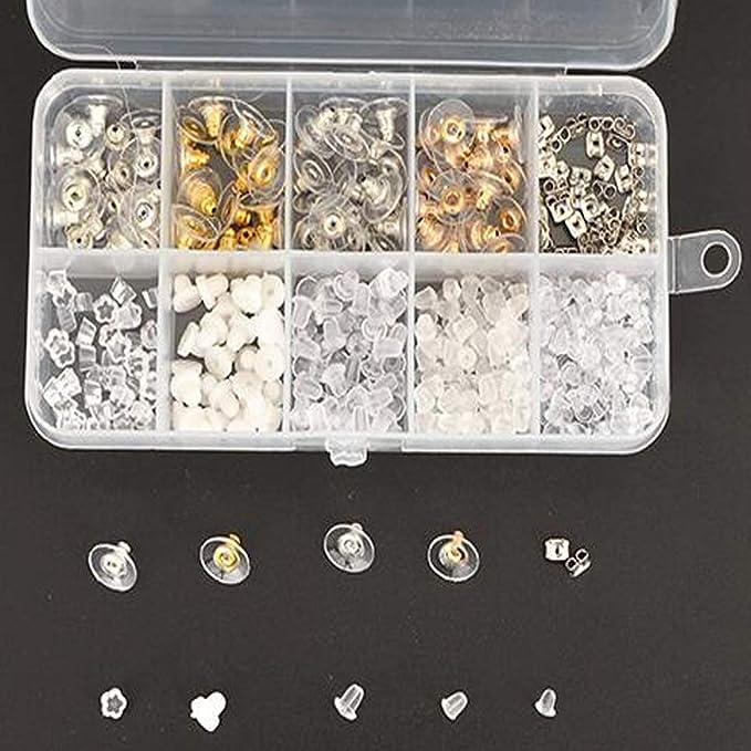 10/Styles Bullet Boucles doreilles Dos Clair Silicon fermoirs Papillon en m/étal en Caoutchouc Plastique s/écuris/é Dos Boucles doreilles pour la s/écurit/é Bebeauty Boucles doreilles Shells