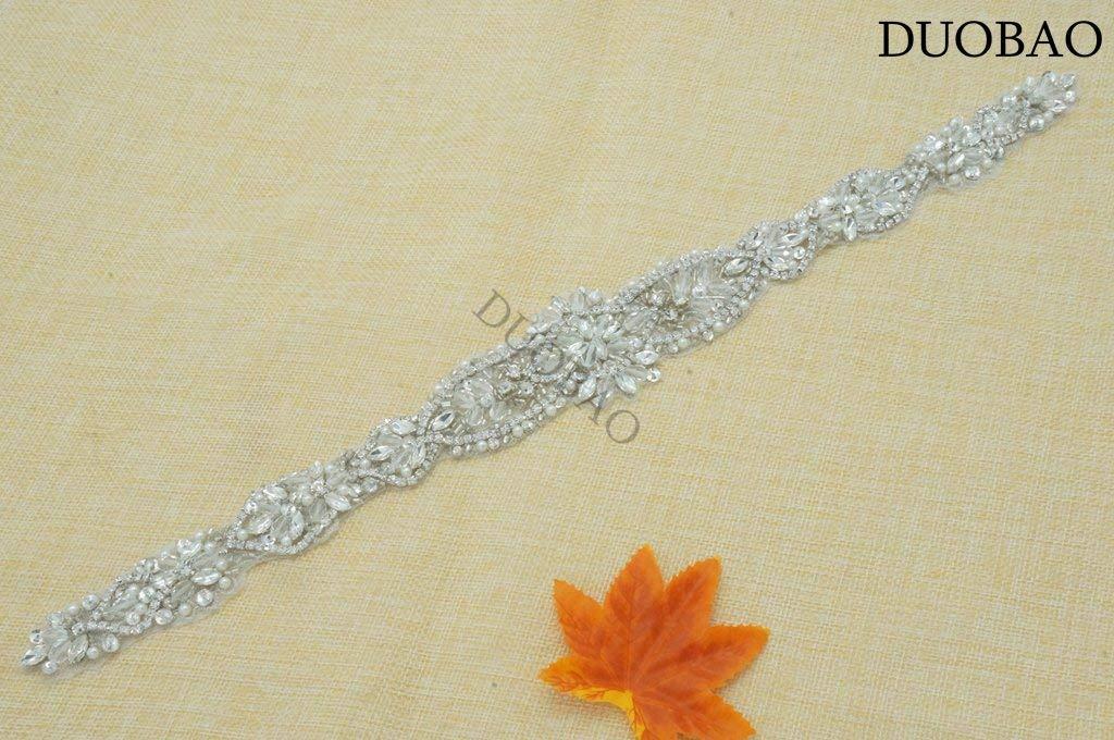 DUOBAO Rhinestone-Sash-Belt Diamante Belts for Dresses Rhinestone Applique Wedding Dress Wedding Beaded Belt Crystal Embellishment Rhinestone Applique Trim Bridal by DUOBAO