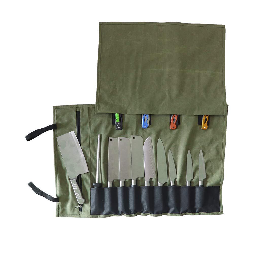 strapazierf/ähige Tasche f/ür K/üchenmesser gewachstes Leinen QCWN Kochmesser-Rolle Aufbewahrungstasche tragbares Reise-Besteck mit 15 F/ächern Messer