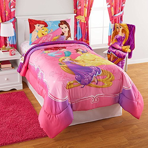 Disney Princess Bedazzling Princess Reversible Twin/Full Bedding Comforter and Full Sheet Set