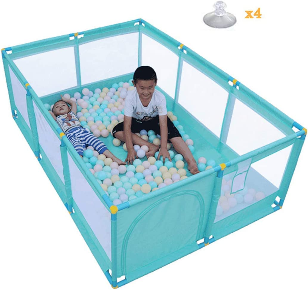 playpens for Toddlers, Large Nursery Furniture Playpen and Ball Pit Set for Babies | Rectangle Toddler Play Pen Safety Barrier | 190x128cm | Green