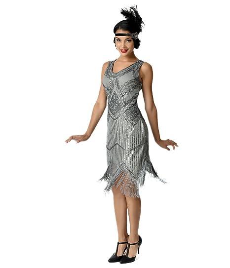 f42c91e8 Image Unavailable. Image not available for. Color: Unique Vintage 1920s  Grey Beaded Sequin Juliette Fringe Flapper Dress