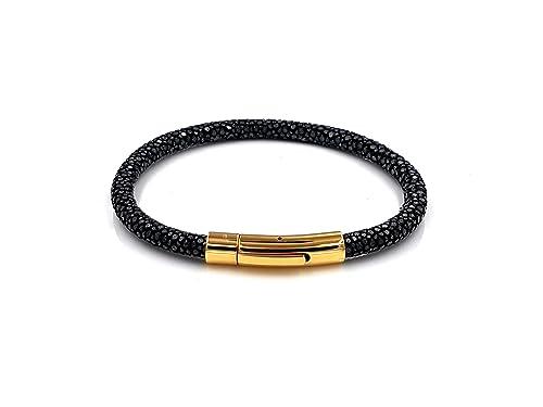 f68b7df02924 Pulsera de piel de raya negro piel de raya cierre dorado 20 cm Hombre  Hombres Mujer Mujeres Piel brazo Maduro de gran calidad oro Stingray  Leather  ...