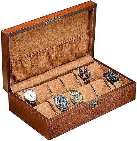 Caja de Reloj para 12 Relojes, Caja de Almacenamiento de Relojes de Madera con Cerradura Organizador de Joyas para Pulseras y Relojes Elegante Regalo para Hombre Marrón: Amazon.es: Deportes y aire libre