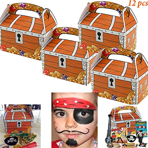 Adorox (12 Chests) Treasure Chest Treat Boxes Pirate Birthday Party Favor Goodies (Halloween Themed Office Games)