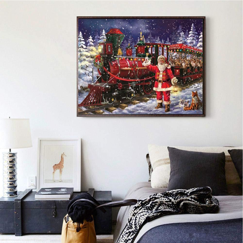 Mosaik-Gem/älde A ohne Rahmen Keptfeet 5D DIY Diamantmalerei 30 x 40 cm Weihnachtsstrass-Stickerei-Set Kreuzstich f/ür Heimdekoration