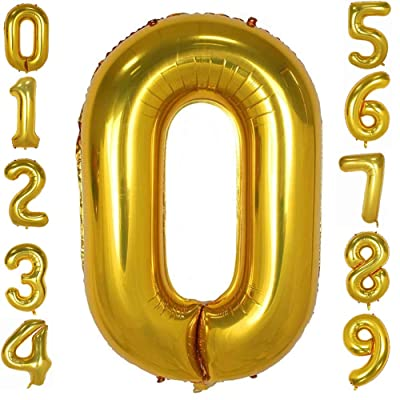 Tellpet Gold Number 0 Balloon for Party Birthday Decorations, 40 Inch: Toys & Games