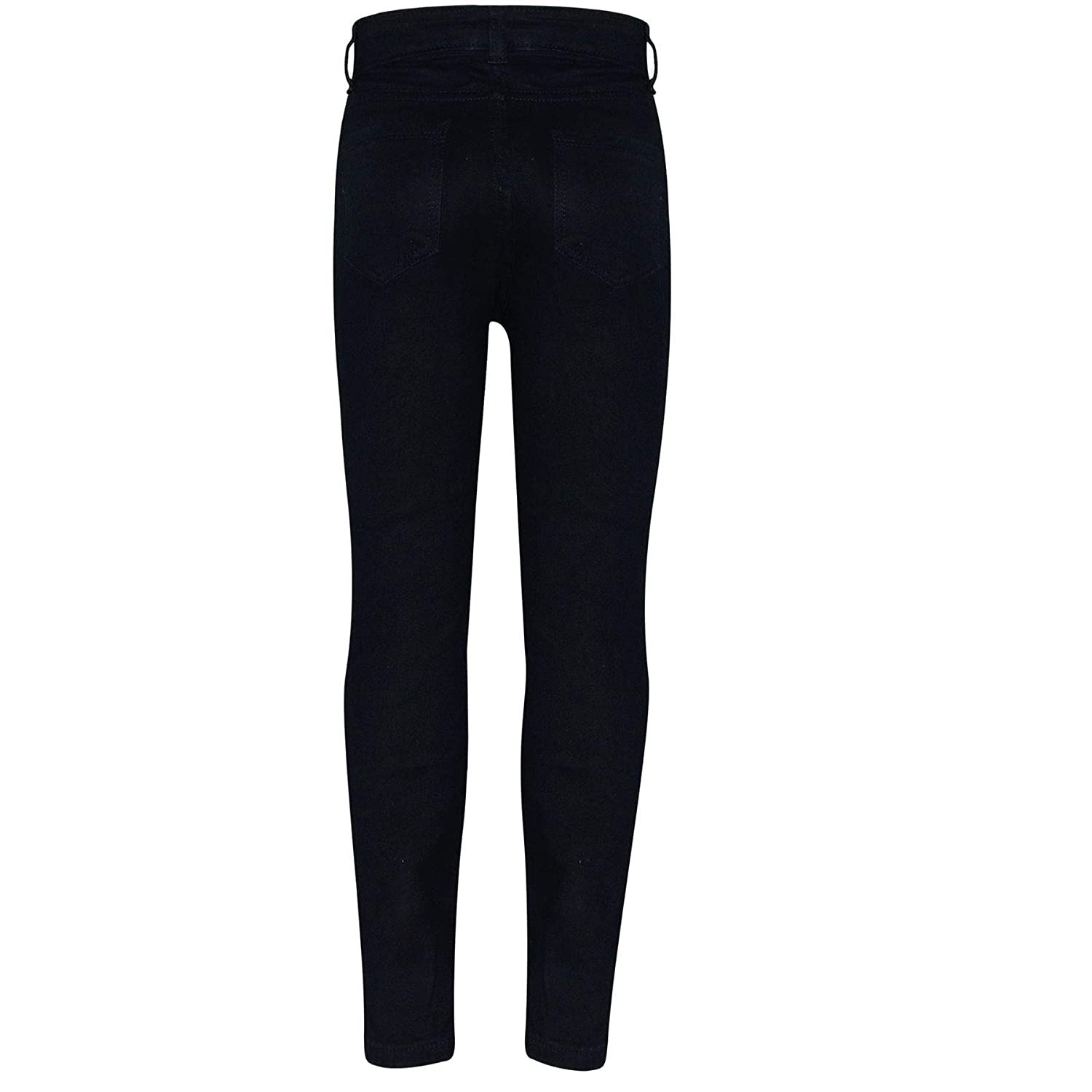 Kids Girls Skinny Jeans Denim Ripped Fashion Stretchy Jet Black Pants Jeggings