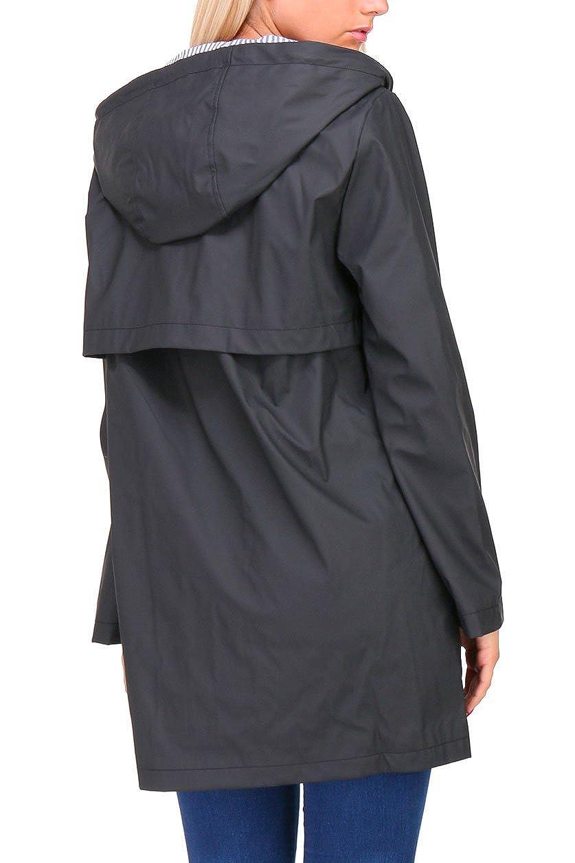 Zelia - 41604F - Manteau Imperméable ciré Femme Noir