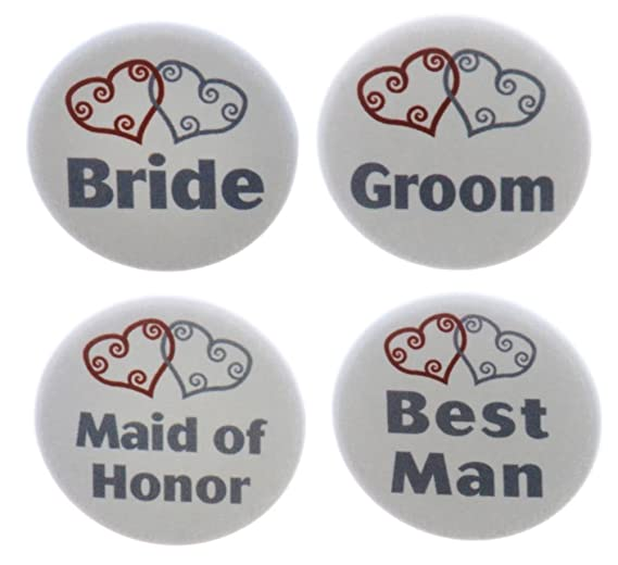 Amazon com: Set 4 Bride / Groom / Maid of Honor / Best Man Silver