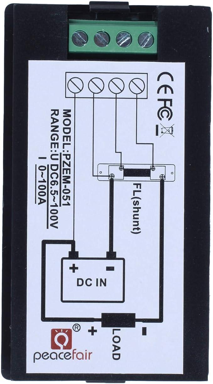 Xzante Dc 6 5 100 V 0 100a Lcd Digital Anzeige Amperemeter Voltmeter Multimeter Volt Leistungs Messer Stromzähler Blau 100a 75mv Shunt Auto