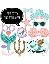 Let's Be Mermaids - Baby Shower or Birthday Party Photo Booth Props Kit - 20 Count BOBEBE Online Baby Store From New York to Miami and Los Angeles