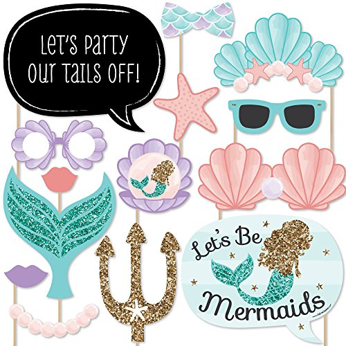 : Let's Be Mermaids - Baby Shower or Birthday Party Photo Booth Props Kit - 20 Count